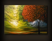 ORIGINAL 36 inch large art painting abstract copper gold mid century minimalist canvas tree painting