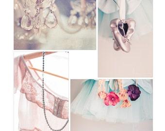 pink photograph collection, ballet nursery art, set of 4 prints, feminine photography, girls room decor, pastel pink decor, nursery wall art