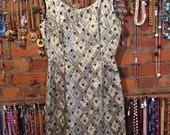 Bombshell vintage 60s gold and silver metalic wiggle dress