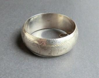 """Vintage Wide Sterling Bangle Engraved Bangle Bracelet 7/8"""" Wide"""