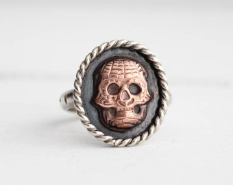 Sugar Skull Ring, Gothic Jewelry, day of the dead, statement rings handmade by Hapa Girls, size 6.75-7