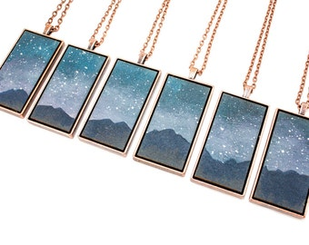 Painted Landscape Pendant - Mountains at Night - Starry Sky Scene (Original Painting in Brass or Copper Setting)