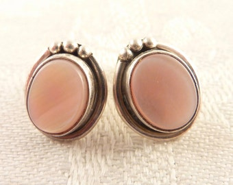 Vintage Oval Pink Shell and Sterling Post Earrings