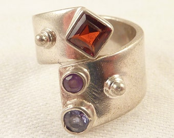 Size 6.5 Vintage Sterling Garnet and Amethyst Industrial Style Ring