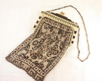 Vintage Whiting & Davis Deco Black and White Geometric Enamel Mesh Bag