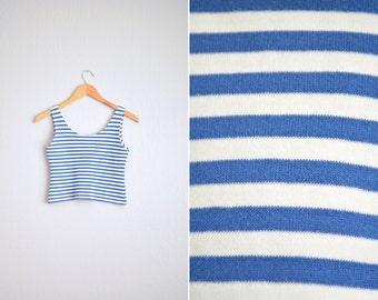 vintage '90s blue & white STRIPED scoop neck CROPPED TANK top. size xxs xs.