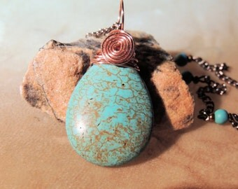 Turquoise Pendant, Turquoise and Copper Pendant Necklace, Handcrafted Jewelry, Gemstone Jewelry, Gift for Her, Teardrop Pendant