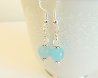 Aquamarine Earrings, Dangle Earrings, Handcrafted Jewelry, Gemstone Jewelry, Blue and Silver, Sterling Silver Jewelry