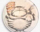 Needle Minder - Licensed Art, David Smith, Cat Cross Stitch Keeper - Fridge Magnet, Big Boned, Fat Cat,