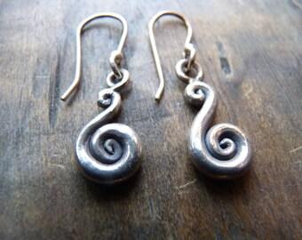 Hilltribe silver spiral drop earrings