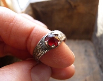 Antique ruby red glass ring