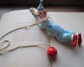 Vintage Clown ~ Sliding Rope * 1960's Kids Vintage * Children's Decor * Circus Theme * Clowns
