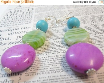 ON SALE 20% OFF Cotton Candy Dangle earrings - purple magnesite - green stripes - turquoise bead earrings