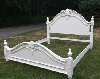 SOLD!  QUEEN size Shabby Chic embellished bed with roses painted creamy white