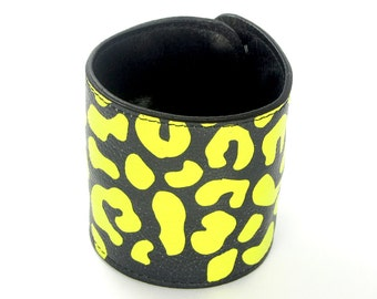Leather cuff purse, wallet cuff, bracelet, wristband - Yellow Leopard