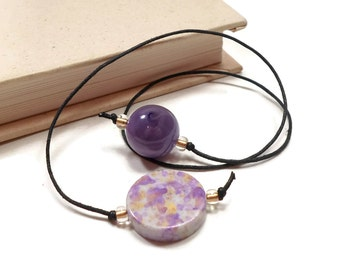 Purple Gold Book Thong Beaded Bookmark Book Cord Book String Book Club Teacher Gift