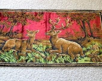 Vintage Tapestry, Deer Tapestry, Doe and Buck, Vintage Wall Tapestry, Deer in the Woods, Man Cave