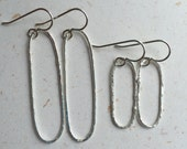 Small and Large fine silver elongated hoop earrings