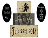 DIY Wedding Blocks Personalized , Instant Download , Decoupage Sheet , Printable Craft , Wooden , Chunky , Stackable , Shelf Sitters , Wood