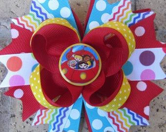 The Little Einsteins Custom Boutique Hair Bow for Disney Vacation - choose from a 5 inch hair bow or 2 pigtail bows