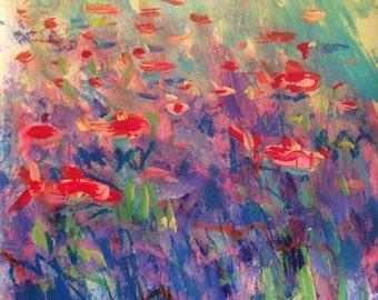 Red Fish Painting, beach art, ocean fish sea decor underwater scene aqua coastal beach art, Russ Potak