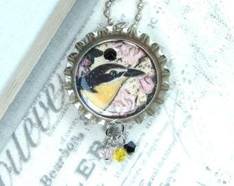 Bird Pendant Necklace Victorian Necklace Bottle Cap Necklace Music Sheet Necklace Bird Lover Gift