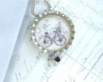 Bike Necklace Paris Necklace Bottle Cap Necklace French Necklace Bicycle Necklace Travel Necklace