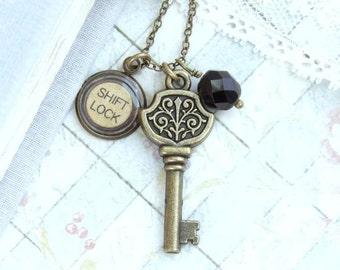 Typewriter Key Necklace Key Pendant Necklace Victorian Necklace Gift For Writer Typewriter Key Jewelry