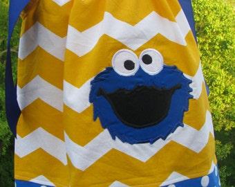cookie monster pillowcase dress, 1st birthday, 2nd birthday, pillowcase dress, smash cake photo,  cookie monster birthday