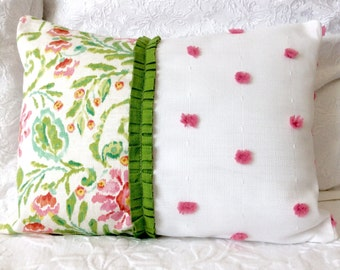 Lumbar Accent Pillow in Pink Green and White - Includes Pillow Insert And Cover!