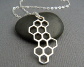 large silver honeycomb necklace. sterling honey comb pendant. bee hive. modern gift geometric charm simple nature jewelry. long drop charm