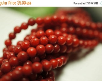 SUMMER SALE NEW - Red Round Coral Beads - 3.5mm - 50 pcs