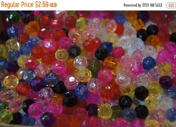 40 OFF CLOSEOUT SALE - Assorted Faceted Round Acrylic Beads - 6mm - 200 pcs