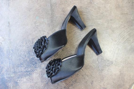 Size 6 black satin mules vintage bombshell heels - Ladies bedroom slippers with heel ...