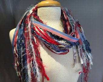 New England Patriots Scarf, Summer Olympics Games Scarf, Red, White and Blue Fringie, knotted scarf for US Olympics, France, Great Britian