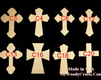 """12"""" x 16"""" 1/2"""" thick Unfinished NEW Beveled Edge Wooden Crosses, Choose from 8 different styles, Ready to Paint, w/key holes. 121650B-1"""