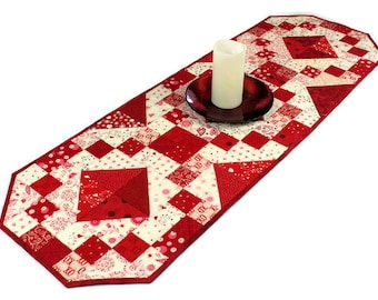 Red and White Quilted Table Runner,  Jewel Box Hearts Table Topper, Valentine's Day Quilt