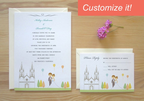 San Francisco Customized Character Wedding Invitation & RSVP Card Package - Saints Peter and Paul Church