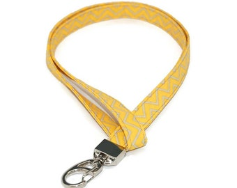 Grey and Yellow Chevron Fabric Lanyard - ID Badge Holder - Name Tag - Keychain - Preppy Lanyards