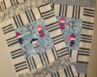 Baby Burp Cloth Set of 2 Burp Pads Baby Girl China Doll
