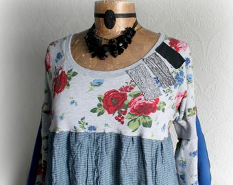 Mori Girl Country Babydoll Womens Shabby Tunic Upcycle Eco Clothes Boho Chic Top Blue Floral Print Romantic Style Bohemian Shirt M L 'DAPHNE