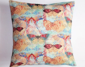 "Throw Pillow Cover, Bohemian Butterflies Throw Pillow Cover, Romantic Toss Pillow, Cushion Cover, Susan Winget Fabric, 16x16"" Square"