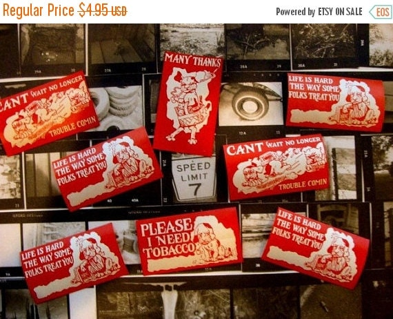 BIG SALE 8 Very Very Old and  Nostalgic Antique Gummed Labels