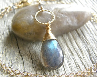 Long Labradorite and Gold Circle Necklace, Gold Chain Pendant Necklace