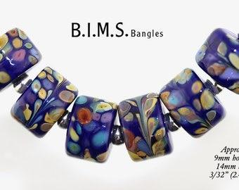 Lampwork Beads, 6pc Lapis Blue and Raku Rolo Drop Lampwork Glass Beads, Lampwork, Bims Bangles, Blue raku lampwork beads