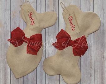 Burlap Pet Stockings - Personalized Burlap Dog and Cat Stockings - Burlap Dog Bone Stocking - Burlap Fish Stocking for Cats - Red Burlap Bow