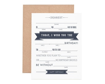 Boxed Cards - Mad Libs Happy Birthday Letterpress Greeting Cards - Boxed Set | Happy Birthday | Birthday Cards