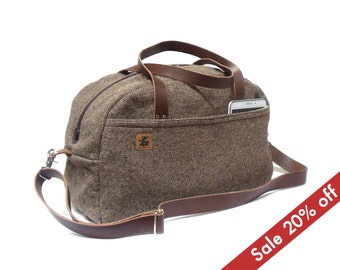Duffel bag - brown tweed - sale 20% off