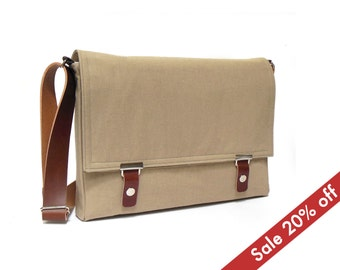 "11"" / 13"" MacBook Air messenger bag - sand brown denim"