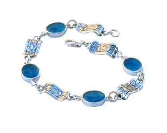 Blue Oval Roman Glass Bracelet, Boho Chic Silver Bracelet, Roman Glass Floral Bracelet, Small Roman Glass Bracelet, Israel Jewelry Birthday